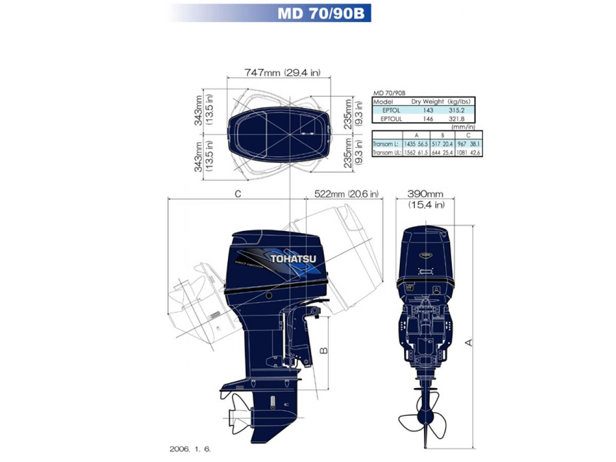 TOHATSU MD90C TLDI DIRECT FUEL INJECTED OUTBOARD MOTOR